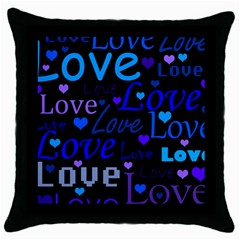 Blue Love Pattern Throw Pillow Case (black) by Valentinaart