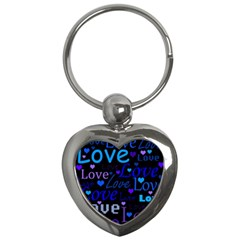 Blue Love Pattern Key Chains (heart)  by Valentinaart