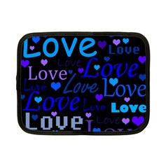 Blue Love Pattern Netbook Case (small)  by Valentinaart