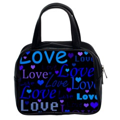 Blue Love Pattern Classic Handbags (2 Sides) by Valentinaart