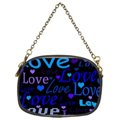 Blue Love Pattern Chain Purses (two Sides)  by Valentinaart