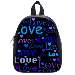 Blue Love Pattern School Bags (small)  by Valentinaart