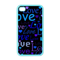 Blue Love Pattern Apple Iphone 4 Case (color) by Valentinaart