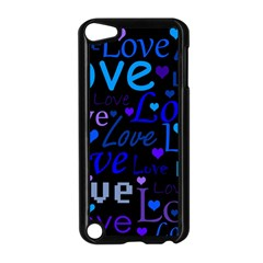 Blue Love Pattern Apple Ipod Touch 5 Case (black) by Valentinaart