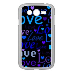 Blue Love Pattern Samsung Galaxy Grand Duos I9082 Case (white) by Valentinaart