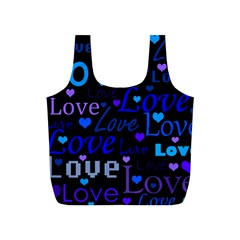 Blue Love Pattern Full Print Recycle Bags (s)  by Valentinaart