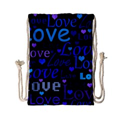 Blue Love Pattern Drawstring Bag (small) by Valentinaart