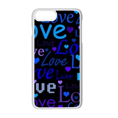 Blue Love Pattern Apple Iphone 7 Plus White Seamless Case