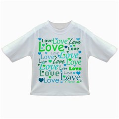 Love Pattern   Green And Blue Infant/toddler T Shirts by Valentinaart