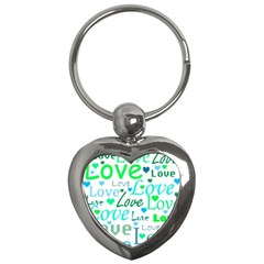 Love Pattern   Green And Blue Key Chains (heart)  by Valentinaart