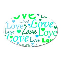 Love Pattern   Green And Blue Oval Magnet