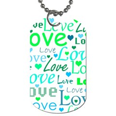 Love Pattern   Green And Blue Dog Tag (two Sides) by Valentinaart