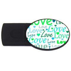 Love Pattern   Green And Blue Usb Flash Drive Oval (2 Gb)  by Valentinaart
