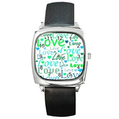 Love Pattern   Green And Blue Square Metal Watch by Valentinaart
