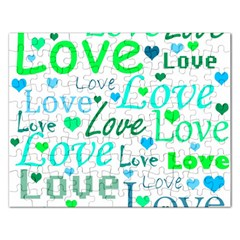 Love Pattern   Green And Blue Rectangular Jigsaw Puzzl by Valentinaart