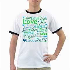 Love Pattern - Green And Blue Ringer T-shirts by Valentinaart
