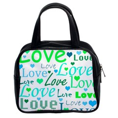 Love Pattern   Green And Blue Classic Handbags (2 Sides) by Valentinaart