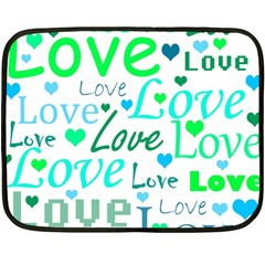 Love Pattern   Green And Blue Fleece Blanket (mini) by Valentinaart