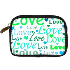 Love Pattern   Green And Blue Digital Camera Cases