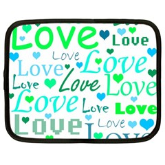 Love Pattern   Green And Blue Netbook Case (xl)  by Valentinaart