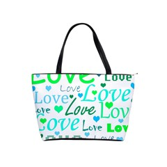 Love Pattern   Green And Blue Shoulder Handbags by Valentinaart