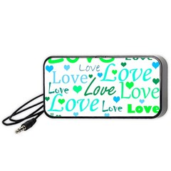 Love Pattern   Green And Blue Portable Speaker (black)  by Valentinaart