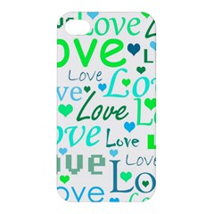 Love Pattern   Green And Blue Apple Iphone 4/4s Hardshell Case by Valentinaart