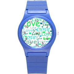 Love Pattern   Green And Blue Round Plastic Sport Watch (s)