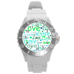 Love Pattern   Green And Blue Round Plastic Sport Watch (l) by Valentinaart