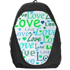 Love Pattern   Green And Blue Backpack Bag by Valentinaart