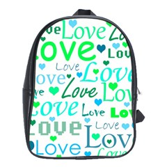 Love Pattern   Green And Blue School Bags (xl)  by Valentinaart
