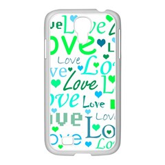 Love Pattern   Green And Blue Samsung Galaxy S4 I9500/ I9505 Case (white) by Valentinaart