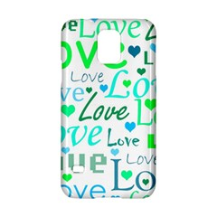 Love Pattern   Green And Blue Samsung Galaxy S5 Hardshell Case  by Valentinaart