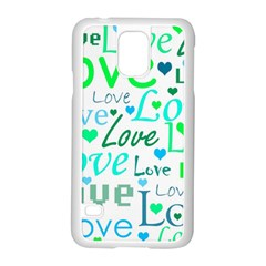 Love Pattern   Green And Blue Samsung Galaxy S5 Case (white) by Valentinaart