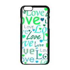 Love Pattern   Green And Blue Apple Iphone 6/6s Black Enamel Case by Valentinaart