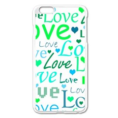 Love Pattern   Green And Blue Apple Iphone 6 Plus/6s Plus Enamel White Case by Valentinaart