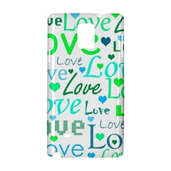 Love Pattern   Green And Blue Samsung Galaxy Note 4 Hardshell Case by Valentinaart