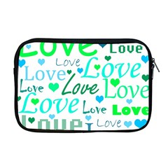 Love Pattern   Green And Blue Apple Macbook Pro 17  Zipper Case by Valentinaart