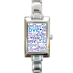 Blue And Purple Love Pattern Rectangle Italian Charm Watch by Valentinaart
