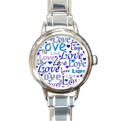 Blue And Purple Love Pattern Round Italian Charm Watch by Valentinaart