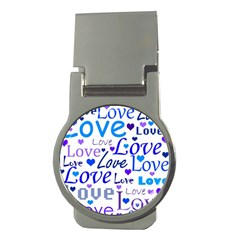 Blue And Purple Love Pattern Money Clips (round)  by Valentinaart