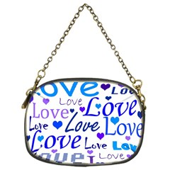 Blue And Purple Love Pattern Chain Purses (one Side)