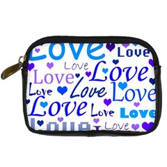 Blue And Purple Love Pattern Digital Camera Cases by Valentinaart