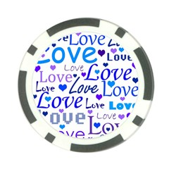 Blue And Purple Love Pattern Poker Chip Card Guards (10 Pack)  by Valentinaart