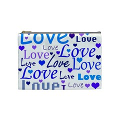 Blue And Purple Love Pattern Cosmetic Bag (medium)  by Valentinaart
