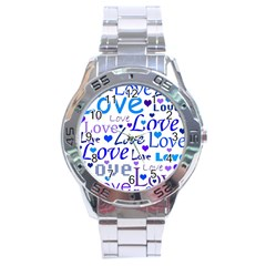 Blue And Purple Love Pattern Stainless Steel Analogue Watch by Valentinaart
