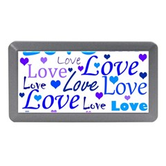 Blue And Purple Love Pattern Memory Card Reader (mini) by Valentinaart