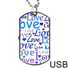 Blue And Purple Love Pattern Dog Tag Usb Flash (one Side) by Valentinaart