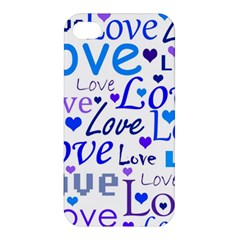 Blue And Purple Love Pattern Apple Iphone 4/4s Premium Hardshell Case by Valentinaart