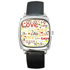 Valentine s Day Pattern Square Metal Watch by Valentinaart
